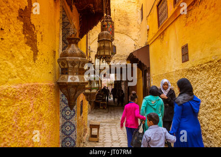 Street life scene. Imperial city Meknes, Morocco, Maghreb North Africa - Stock Photo