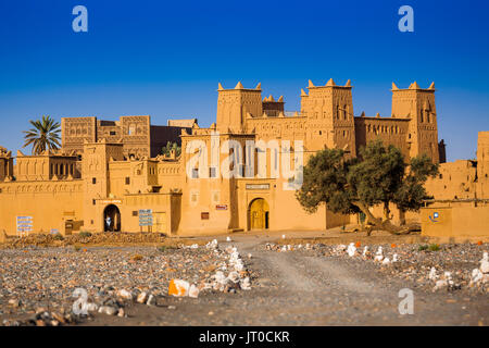 Hotel Kasbah Amridil, Dades Valley, Skoura oasis Palm Grove. Morocco, Maghreb North Africa - Stock Photo
