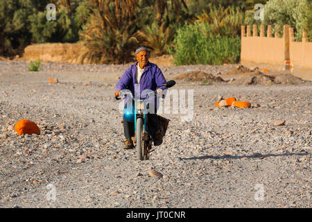 Man on a motorcycle. Hotel Kasbah Amridil, Dades Valley, Skoura. Morocco, Maghreb North Africa - Stock Photo