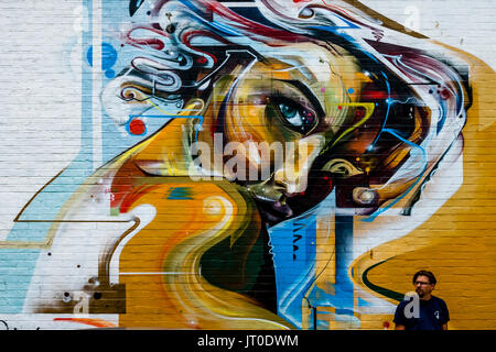 Street Art (Graffiti) On The Side Of A Building, Brighton, Sussex, UK - Stock Photo
