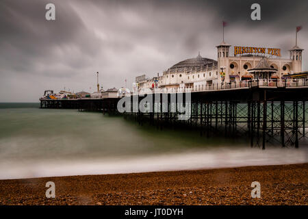 The Brighton Palace Pier On A Rainy Day, Brighton, Sussex, UK - Stock Photo