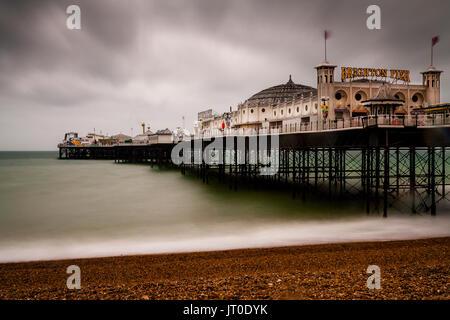The Brighton Palace Pier On A Rainy Day, Brighton, Sussex, UK - Stock Photo