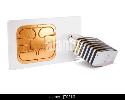Simcard security protection concept. Sim card with padlock isolated on white background. 3d rendering illustration - Stock Photo