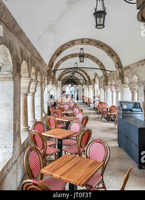 Cafe in Fishermen's Bastion, Buda Castle district, Castle Hill, Budapest, Hungary - Stock Photo