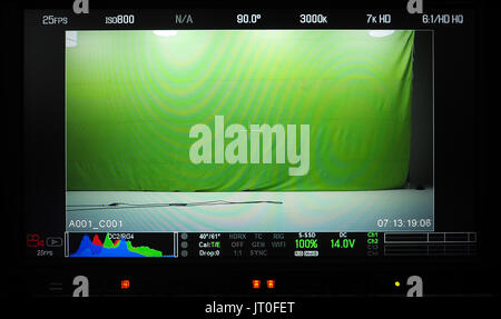 Video production recording monitor that have a green screen in studio and showed all shooting setup. - Stock Photo
