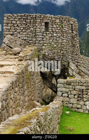 Peru, Machu Picchu the lost ancient incas town. Temple of Condor - Stock Photo