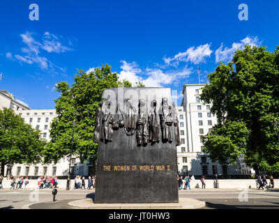 Monument to the Women of World War II is a British national war memorial situated on Whitehall in London. Sculptor - Stock Photo