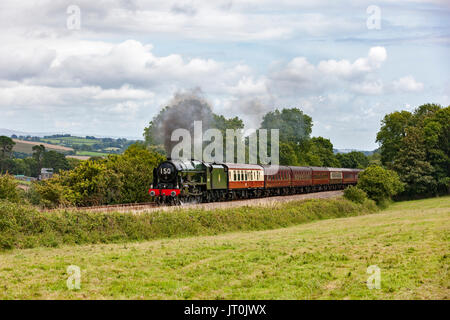 Cornwall, UK. 6th Aug, 2017. The Royal Duchy Steaming Up St Germans Bank. Royal Scot Class 46100 On a bright sunny - Stock Photo