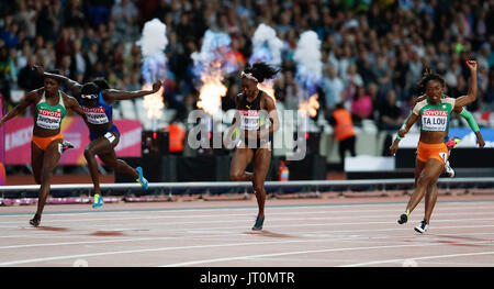 London, UK. 6th Aug, 2017. Tori Bowie (2nd L) of the United States competes during the women's 100m final on Day - Stock Photo