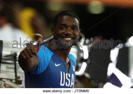 London, UK. 04th Aug, 2017. Justin Gatlin of the United States waves to the viewers after he advances to semifinals - Stock Photo