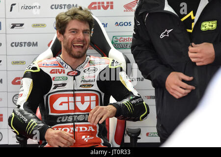 Brno, Czech Republic. 06th Aug, 2017. British motorcycle road racer CAL CRUTCHLOW smiles during the Grand Prix of - Stock Photo