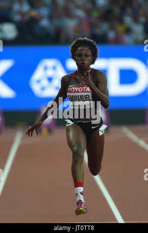 London, UK. 06th Aug, 2017. Crystal EMMANUEL, Canada, during 100 meter semifinal in London on August 6, 2017 at - Stock Photo