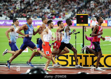 London, UK. 06-Aug-17. Adam KSZCZOT, Nijel AMOS, Isaiah HARRIS, Guy LEARMONTH, Elliot GILES, Abdessalem AYOUNI, - Stock Photo