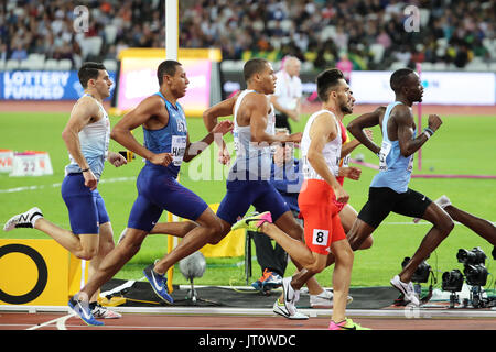 London, UK. 06-Aug-17. Adam KSZCZOT, Nijel AMOS, Isaiah HARRIS, Guy LEARMONTH, Elliot GILES, Kevin L'PEZ, competing - Stock Photo