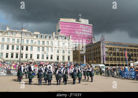 George Square, Glasgow, Scotland, UK - 7 August 20017: Piping Live! - the Glasgow International Piping Festival - Stock Photo