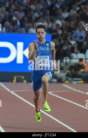 London, UK. 7th Aug, 2017. Filippo TORTU, Italy, during 200 meter heats in London on August 7, 2017 at the 2017 - Stock Photo