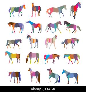 Set of mosaic vector colorful trotting and galloping horses silhouettes isolated on white background - Stock Photo