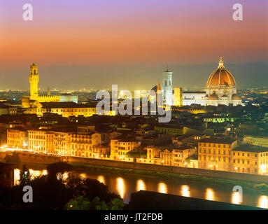 Overview of Florence at dusk from Piazzale Michelangelo with city of Florence in background, Lombardy, Italy - Stock Photo