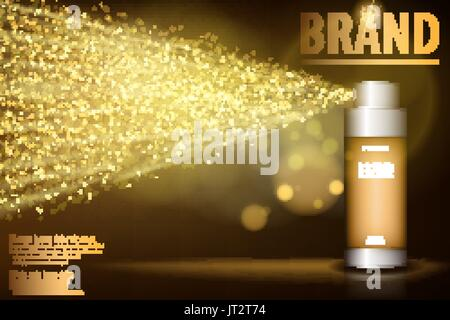 Gold spray bottle isolated on black background for your design. Realistic cosmetic premium ads, facial treatment - Stock Photo