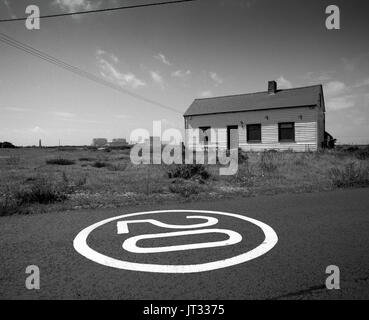 Speed limit sign on the road in The National Nature reserve, Dungeness Kent, - Stock Photo