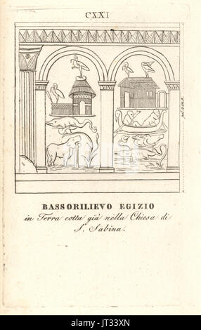 Egyptian bas relief in terracotta from the  Basilica of Saint Sabina, Rome. Copperplate engraving from Pietro Paolo - Stock Photo