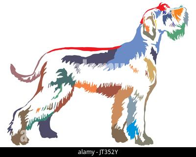 Colorful decorative portrait of standing in profile Giant Schnauzer, vector isolated illustration on white background - Stock Photo