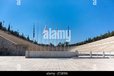 Panthenaic stadium in Athens where the first modern Olympic games were held in 1896 - Stock Photo