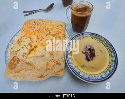 Roti Chennai in a restaurant in Malacca, Malaysia - Stock Photo