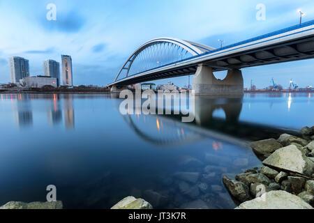 Apollo bridge over river Danube in Bratislava, Slovakia - Stock Photo
