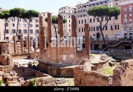 Rome Italy July 2017 - Largo di Torre Argentina is a square in Rome, Italy, with four roman Republican temples and - Stock Photo