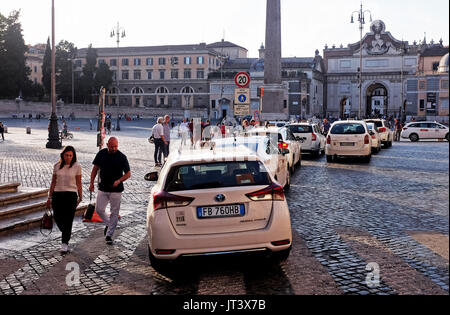 Rome Italy July 2017 - Taxi rank queue at the Piazza del Popolo - Stock Photo