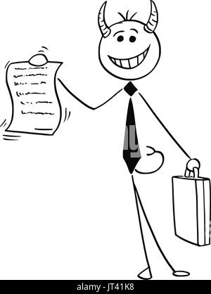 Cartoon vector illustration of smiling stick man devil businessman or salesman offering contract or agreement paper - Stock Photo