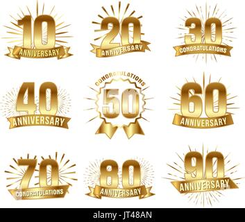 Anniversary numbers in gold - Stock Photo
