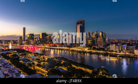 BRISBANE, AUSTRALIA - August 05 2017: Night time areal image of Brisbane CBD and South Bank. Brisbane is the capital - Stock Photo