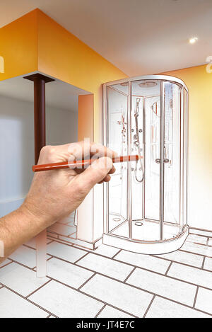 Drawing Renovation Of A Modern Bathroom With Shower