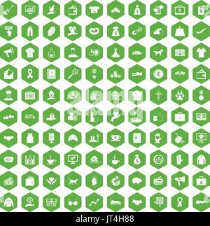 100 charity icons hexagon green - Stock Photo