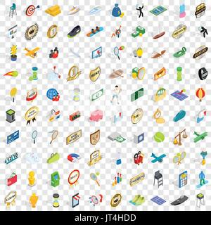 100 victory icons set, isometric 3d style - Stock Photo