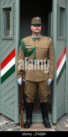 Guard outside the Royal Palace, Castle Hill, Buda, Budapest,Hungary - Stock Photo