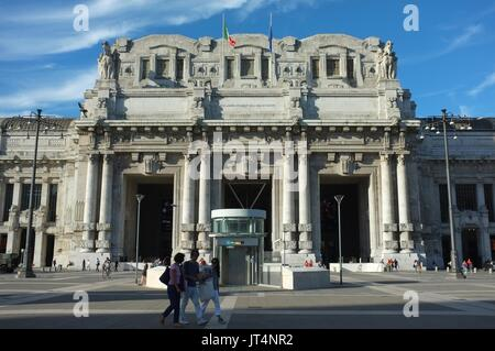 Exterior facade of Central railway station, Milan, Lombardy, Italy, July 2017 - Stock Photo