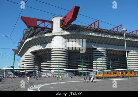 Exterior of the San Siro stadium, Milan, Lombardy, Italy, July 2017 - Stock Photo