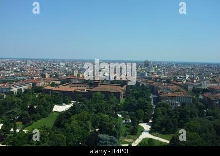 View from the Torre Branca (Branca Tower) towards the city centre and Sforzesco Castle, Parco Sempione, Milan, Lombardy, - Stock Photo