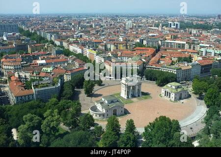 View from the Torre Branca (Branca Tower) of the Arco della Pace, Parco Sempione, Milan, Lombardy, Italy, July 2017 - Stock Photo