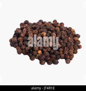 Black Peppercorns on a white background - Stock Photo