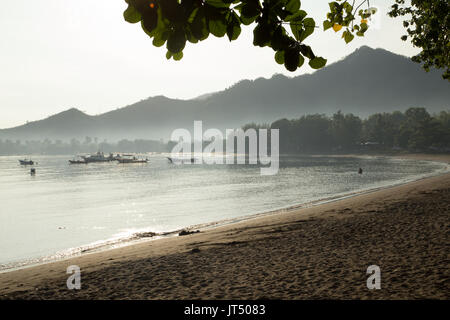 Misty morning Pemuteran beach, northern Bali - Stock Photo