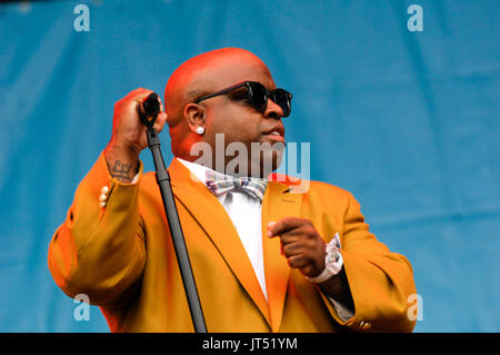 Cee-Lo Gnarls Barkley performing 2008 Lollapalooza Music Festival Grant Park Chicago. - Stock Photo