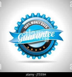Vector  Guarantee Labels Illustration with shiny styled design on a clear background. EPS 10. - Stock Photo