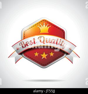 Vector Best Quality Labels Illustration with shiny styled design on a clear background. EPS 10. - Stock Photo