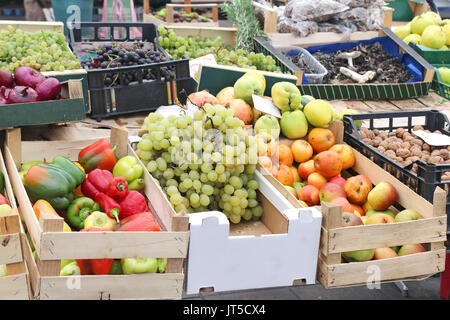 ... Open Crates Full With Fruits And Vegetables On Market Stall   Stock  Photo