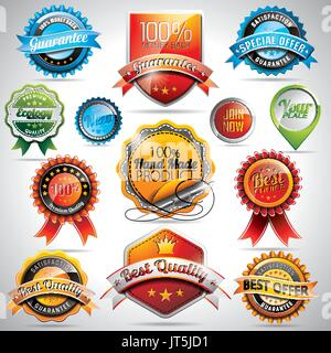 Vector set of labels and badges illustration with shiny styled design on a clear background. EPS 10. - Stock Photo