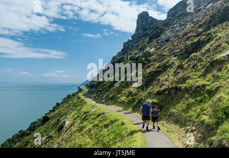 Hikers on the South West Coast Path near Lynmouth - Stock Photo